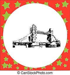 black 8-bit Tower Bridge vector illustration isolated on...