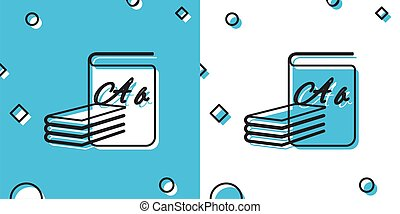 Black ABC book icon isolated on blue and white background. Dictionary book sign. Alphabet book icon. Random dynamic shapes. Vector Illustration