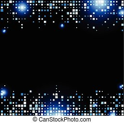 Black abstract background with blue squares. Vector illustration.