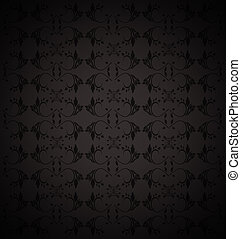 black abstract background with floral pattern