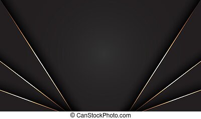 Black abstract background with golden line for card, annual business report, poster template