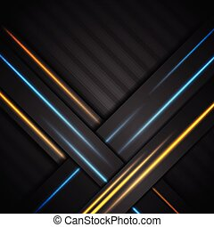Black abstract corporate background with glowing lines