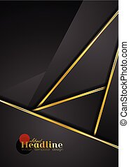 Black abstract corporate background with golden stripes