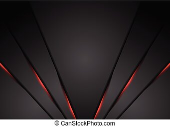 Black abstract corporate background with red neon lines