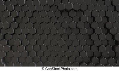 Black abstract field hexagon 4k