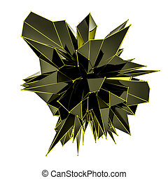black abstract figure with gold metal mesh on a white background. 3d render illustration