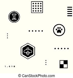 Black abstract geometric hipster pattern with simple shapes - paw, bee, stars, squares, 1,618 golden ratio, checkerboard, hourglass on white background
