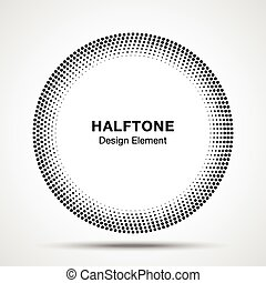 Black Abstract Halftone Circle Logo Design Element