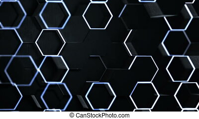 Abstract hexagonal geometric surface. - Black Abstract ...