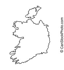 black abstract map od Ireland
