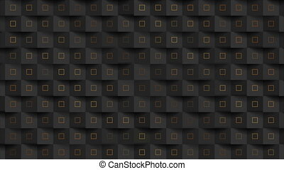 Black abstract mosaic motion background with golden squares...