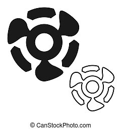 black abstract propeller icon on a white isolated background. Vector image