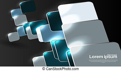 Black abstract realistic 3d background with paper square shape overlapping. Vector Illustration For Wallpaper, Banner, Background, Card, landing page , etc