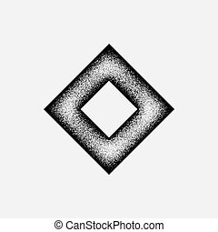 Black abstract geometric shape, rhomb badge with film grain, grunge texture and light background for logo, design concepts, posters, banners, web, presentations and prints. Vector illustration.
