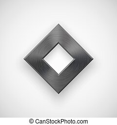 Black Abstract Rhombic Button