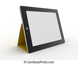 Black abstract tablet computer (pc) on white background