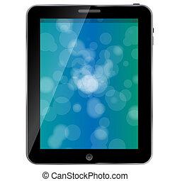 black , abstract, tablet pc, op wit, achtergrond, vector, illustratie