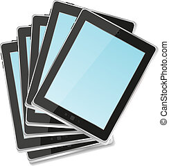 Black abstract tablet pc set on white background