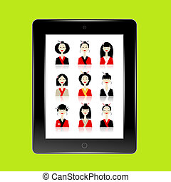 Black abstract tablet pc with asian women avatars for your design