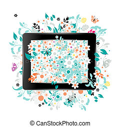 Black abstract tablet pc with floral decoration for your design
