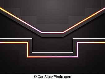 Black abstract tech background with neon light lines