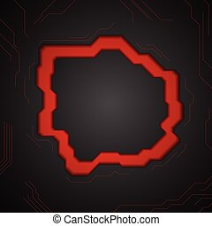 Black abstract tech background with red lines