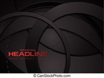 Black abstract tech geometric circles background