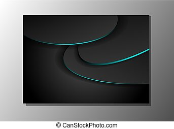 Black abstract wavy background with blue neon glow light