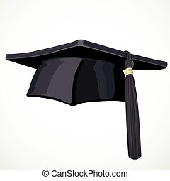 Black Academic hat with a tassel 3 isolated on white background