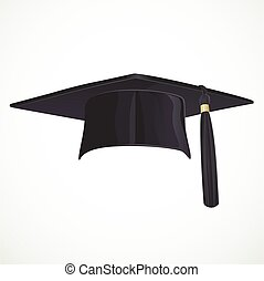 Black Academic hat with a tassel isolated on white...