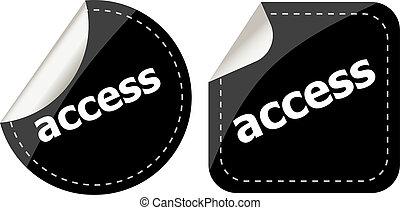 black access stickers set on white, icon button