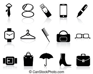 black accessories icons set