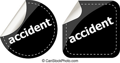black accident stickers set on white, icon button