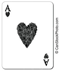 Black Ace of Hearts - The Ace of Hearts in black over a...