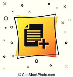 Black Add new file icon isolated on white background. Copy document icon. Yellow square button. Vector Illustration