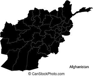 Black Afghanistan map