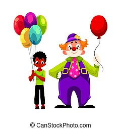 Black, African American boy holding balloons standing with funny clown