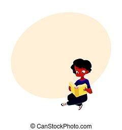 Black, African American boy, kid reading book sitting, crossed legs