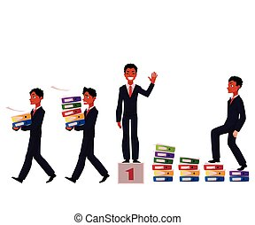 Black, African American businessman carrying folders, success, winning, career ladder concept