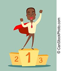 black african american businessman in a business suit and red cape superhero standing on the winning podium . Business concept of leadership and success.