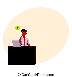 Black, African American businessman, manager, financial analyst at office desk