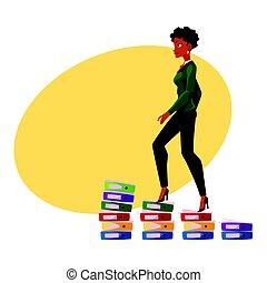 Black, African American businesswoman climbing up career ladder