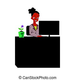 Black, African American businesswoman, secretary, working on computer in office