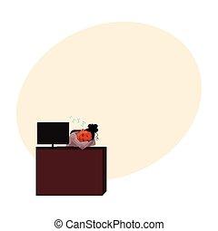 Black, African American businesswoman, secretary, sleeping, snoozing at office desk