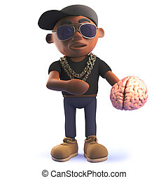 Black African American cartoon hiphop rapper holding a human...