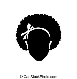 Black African American girl  head face vector silhouette drawing illustration with curly hair and ribbon bow isolated on white background..eps