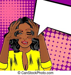 Black african american girl pop art watching