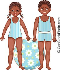 Black, African American kids in summer swimsuits