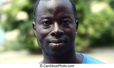 Black African American man portrait face.