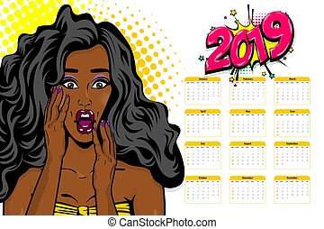 Black african-american young pop art calendar